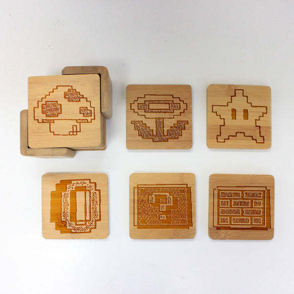 "Engraved Bamboo Coaster Set ""Mario Icons"""