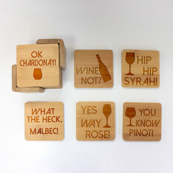 "Engraved Bamboo Coaster Set ""Wine Not"""