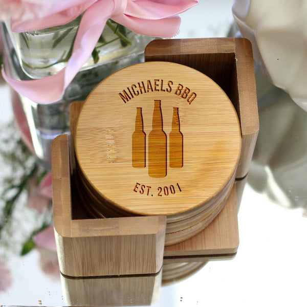 "Personalized Engraved Bamboo Coaster Set ""Michaels BBQ"""