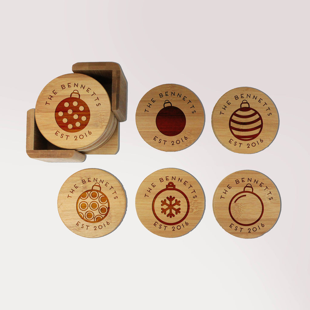 "Personalized Engraved Bamboo Coaster Set - ""Bennett's Ornaments"""