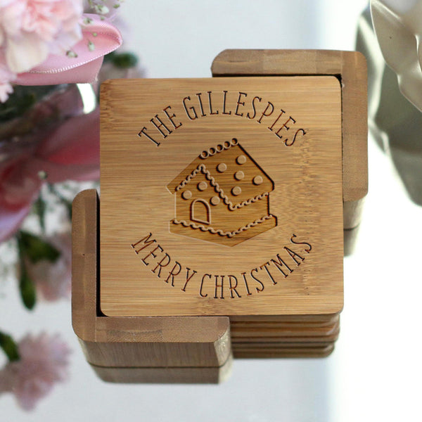 "Personalized Engraved Bamboo Coaster Set - ""Gillespies Christmas"""
