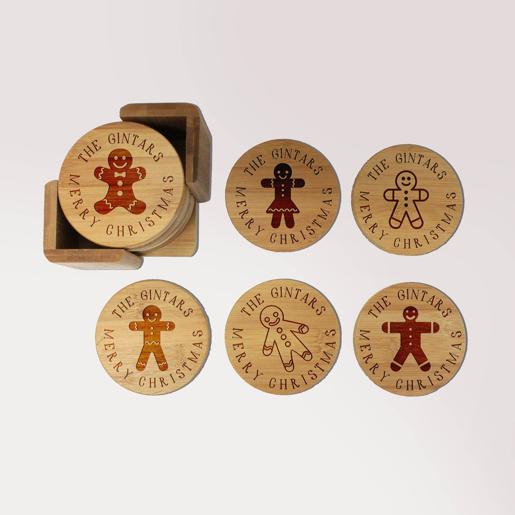 "Personalized Engraved Bamboo Coaster Set - ""Gintars Gingerbread Men"""
