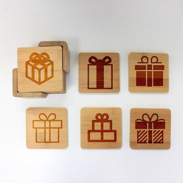 "Engraved Bamboo Coaster Set - ""Gifts"""