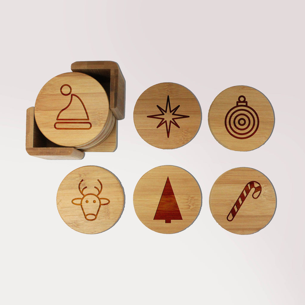 "Engraved Bamboo Coaster Set - ""Christmas Icons"""