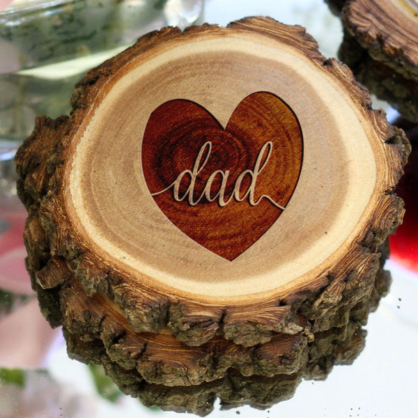 "Personalized Engraved Tree Bark Coaster Set - ""DAD"""