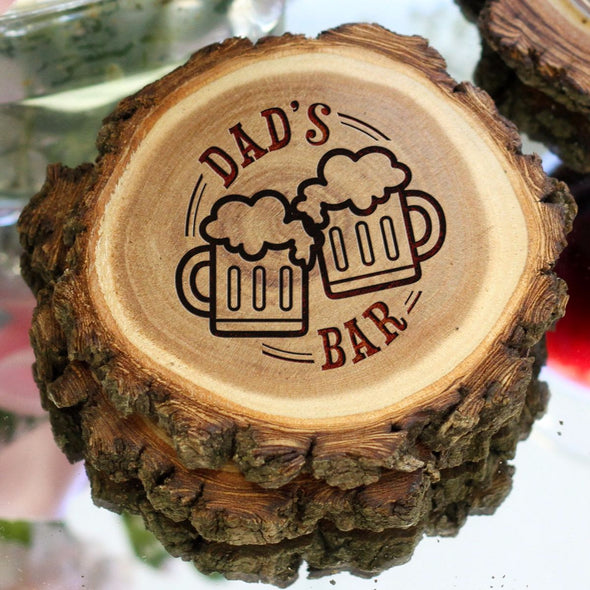 "Personalized Engraved Tree Bark Coaster Set - ""DAD'S BAR"""
