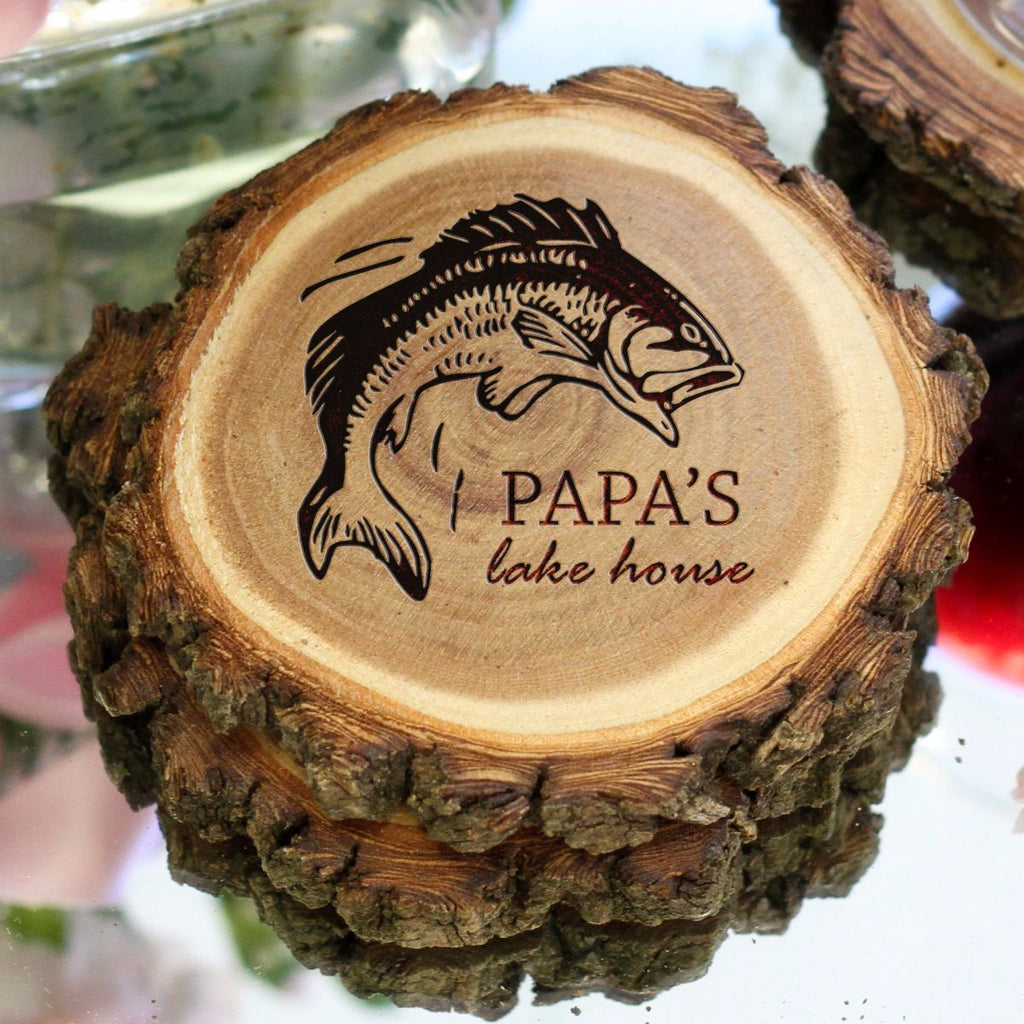 "Personalized Engraved Tree Bark Coaster Set - ""PAPA'S Lake House"""