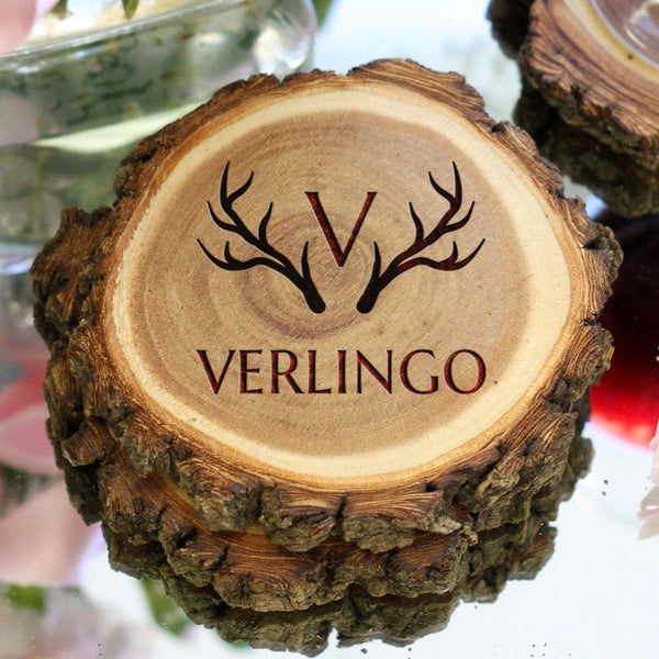 "Personalized Engraved Tree Bark Coaster Set - ""Antlers With Last Name"""