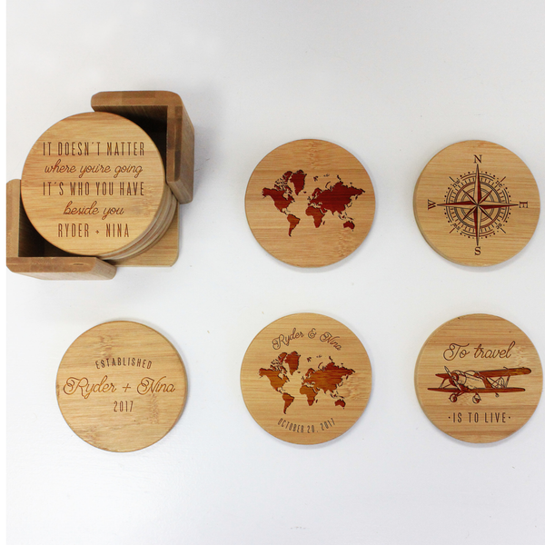 "Engraved Bamboo Coaster Set ""To Travel Is To Live"""