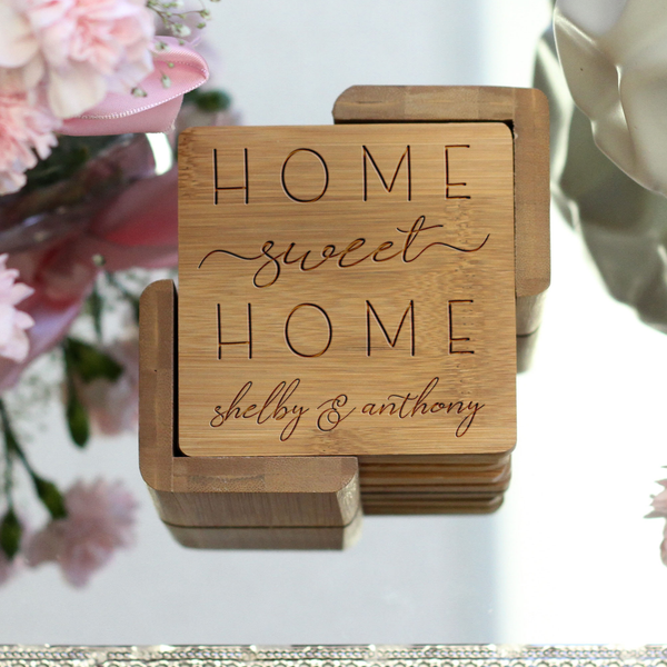 "Engraved Bamboo Coaster Set ""Home Sweet Home"""