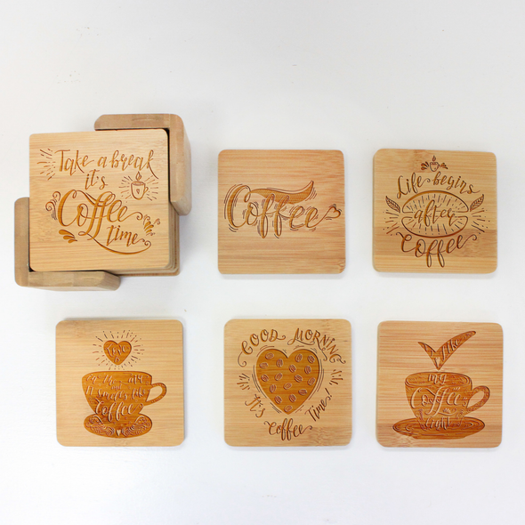 "Engraved Bamboo Coaster Set ""Coffee"""