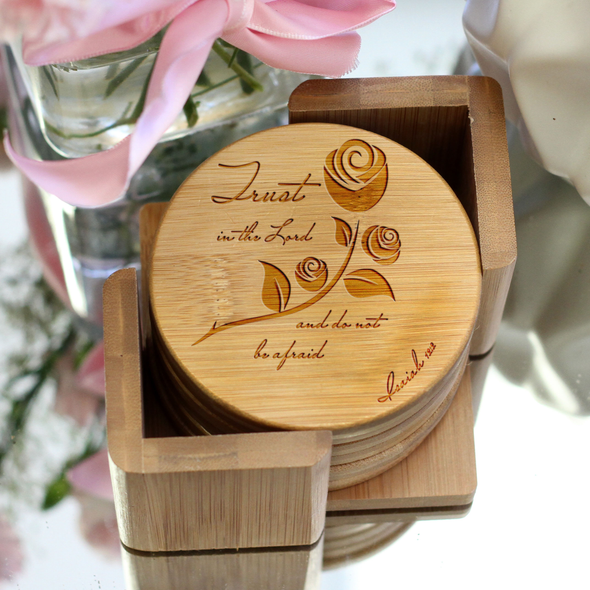 "Engraved Bamboo Coaster Set ""Trust In The Lord"""