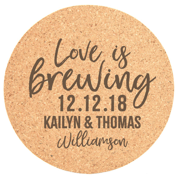 "Personalized 25pc Cork Coasters - ""Love Is Brewing"""