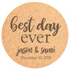 "Personalized 25pc Cork Coasters - ""Best Day Ever"""
