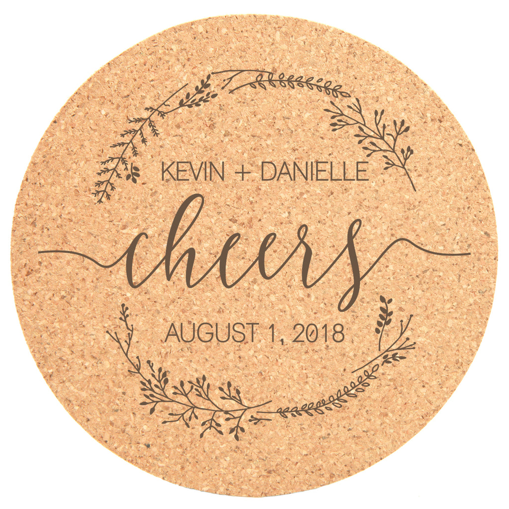 "Personalized 25pc Cork Coasters - ""Cheers"""