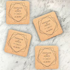 Personalized Wedding Cork Coasters