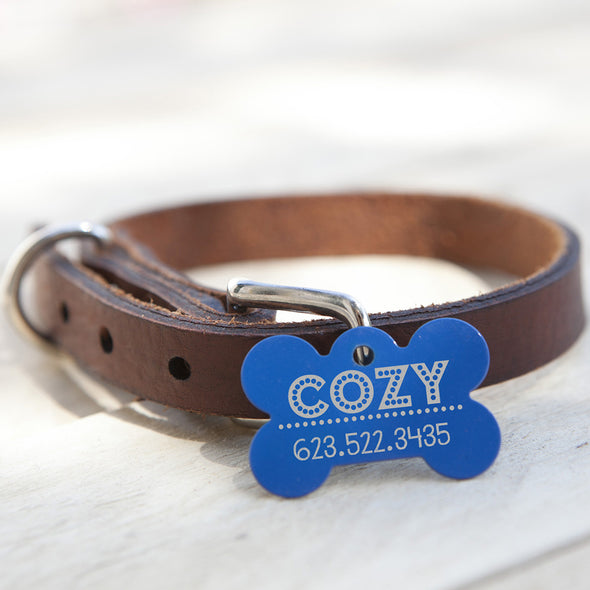 "Bone Dog Tag - ""Cozy"""