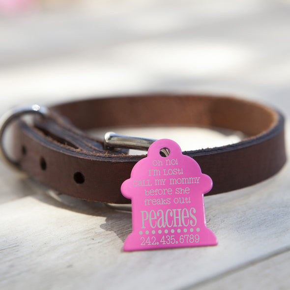 "Fire Hydrant Dog Tag - ""Lost Call Mom Before She Freaks Out!"""