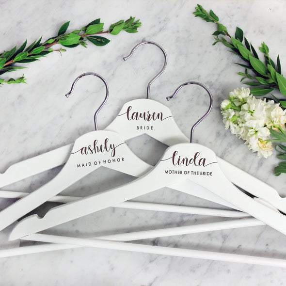 Personalized Wedding Hangers - Bride, Maid Of Honor, Mother Of Bride