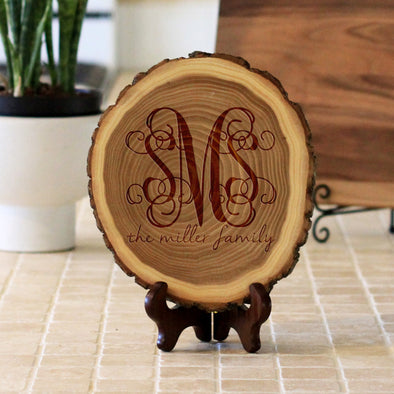 "Wood Plaque ""Monogram Miller Family"""