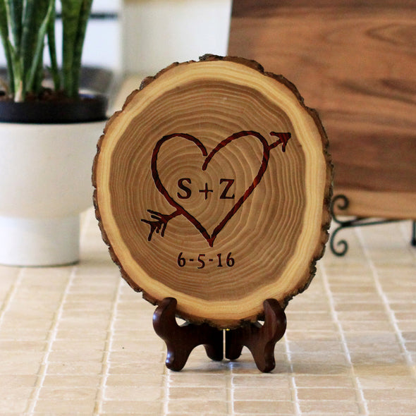 "Wood Plaque ""Heart Arrow SZ"""