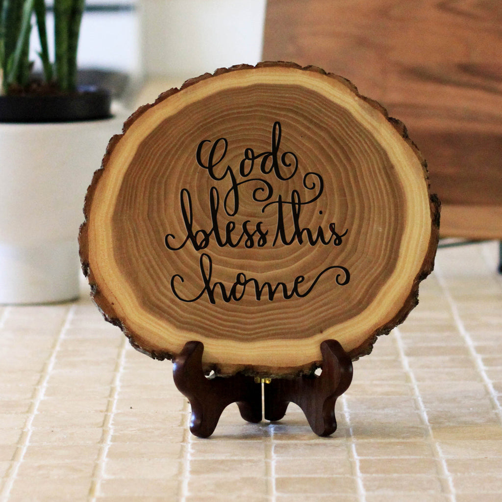 "Wood Plaque ""God Bless This Home"""