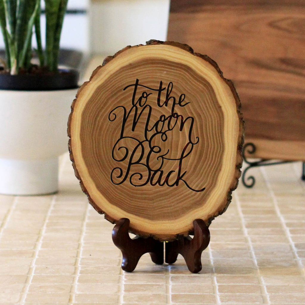 "Wood Plaque ""To the Moon and Back"""