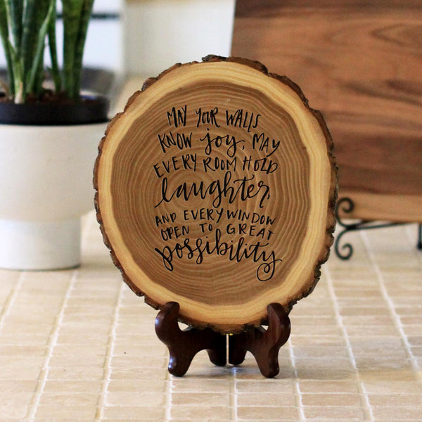 "Wood Plaque ""May Your Walls Know Joy"""