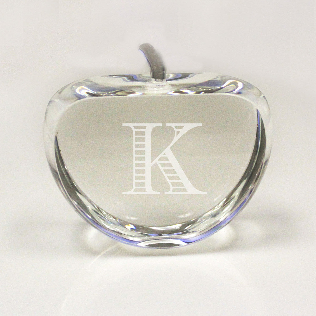 crystal paper weight apple initial stamp out