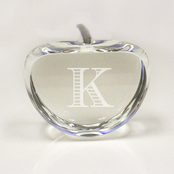 "Crystal Paper Weight Apple - ""Initial"""