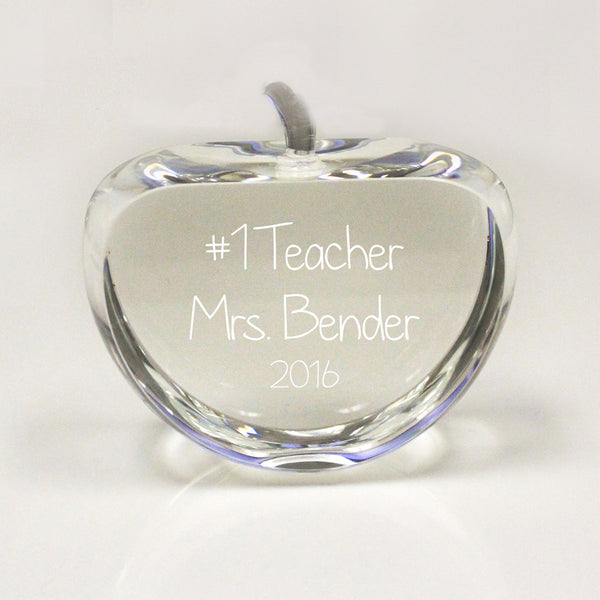 "Crystal Paper Weight Apple - ""Number One Teacher"""