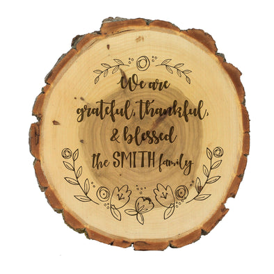 "Wood Plaque ""We Are Grateful"""