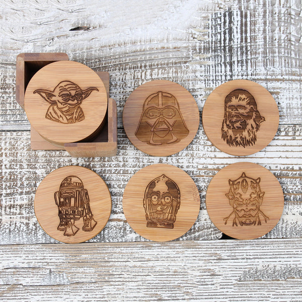 "Round Engraved Bamboo Coaster Set ""Star Wars"""