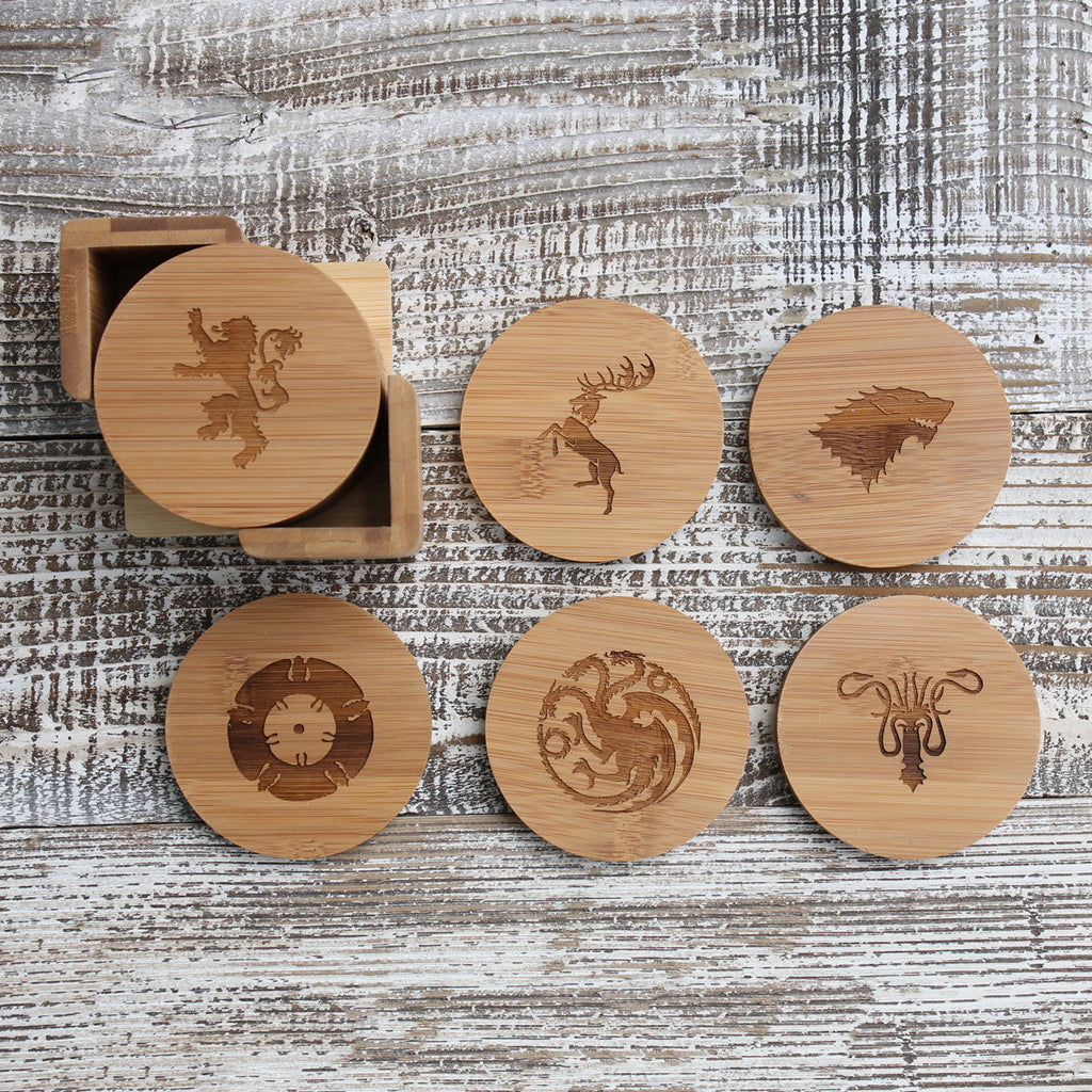 "Round Engraved Bamboo Coaster Set ""Game of Thrones"""