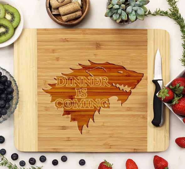 "Engraved Cutting Board ""Dinner is Coming"""