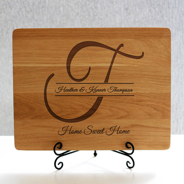 """Thompson Initial"" Cutting Board & Black Stand"