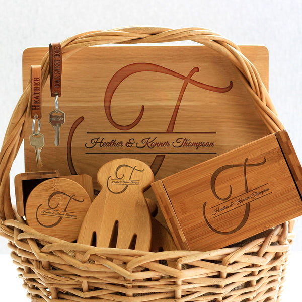"""Thompson Initial"" Cutting Board, Key Chains, Coaster Set, Recipe Box & Salad Tongs"
