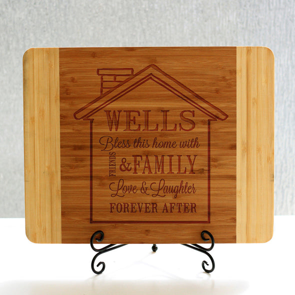 """Wells House Design"" Cutting Board & Stand"