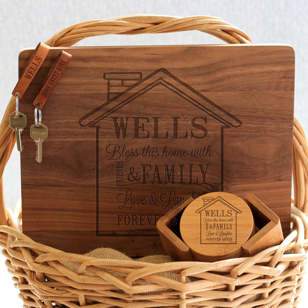 """Wells House Design"" Cutting Board, Key Chains & Coaster Set"