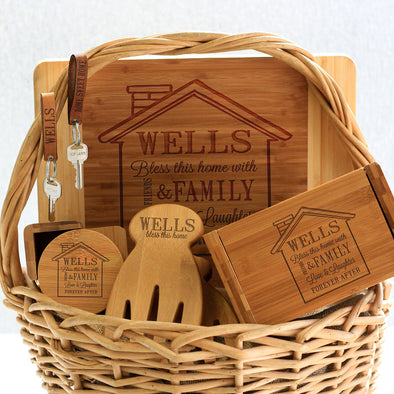 """Wells House Design"" Cutting Board, Key Chains, Coaster Set, Recipe Box & Salad Tongs"
