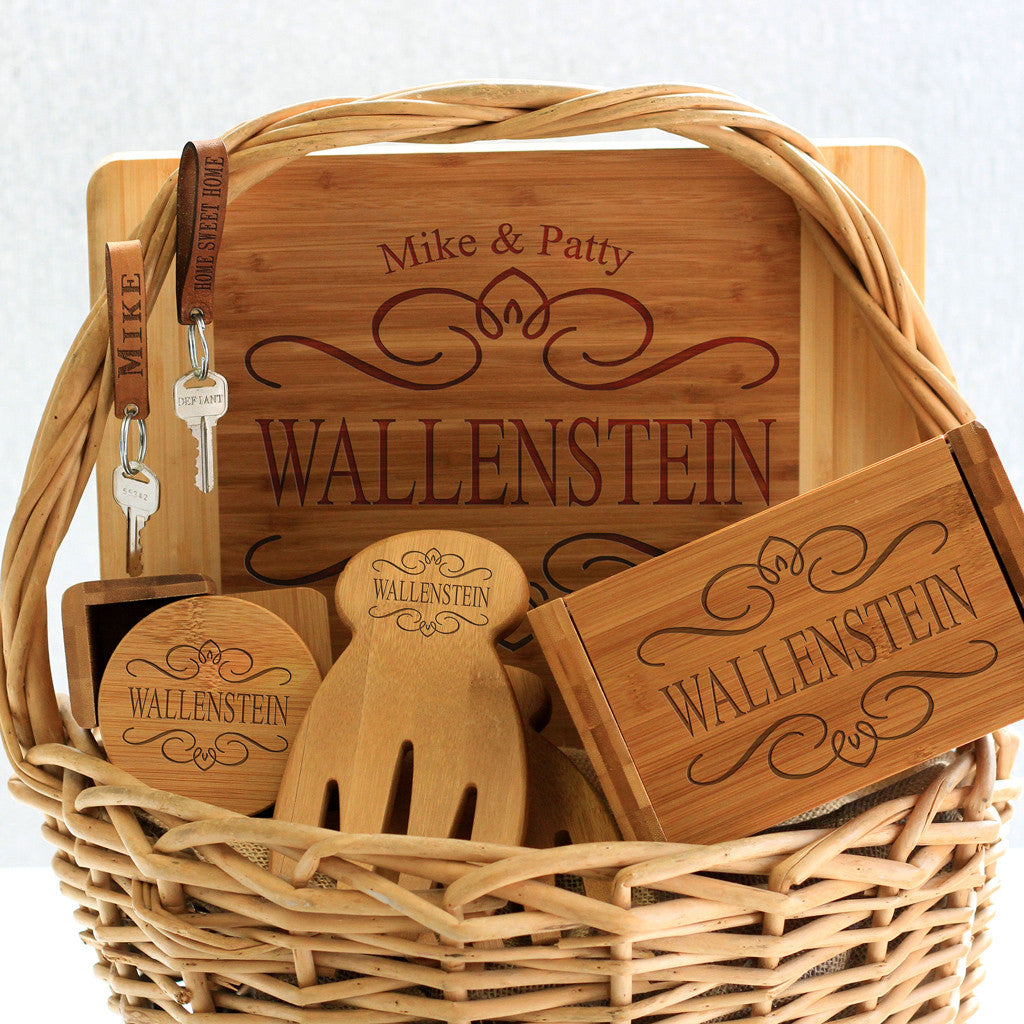 """Wallenstein Filigree Design"" Cutting Board, Key Chains, Coaster Set, Recipe Box & Salad Tongs"