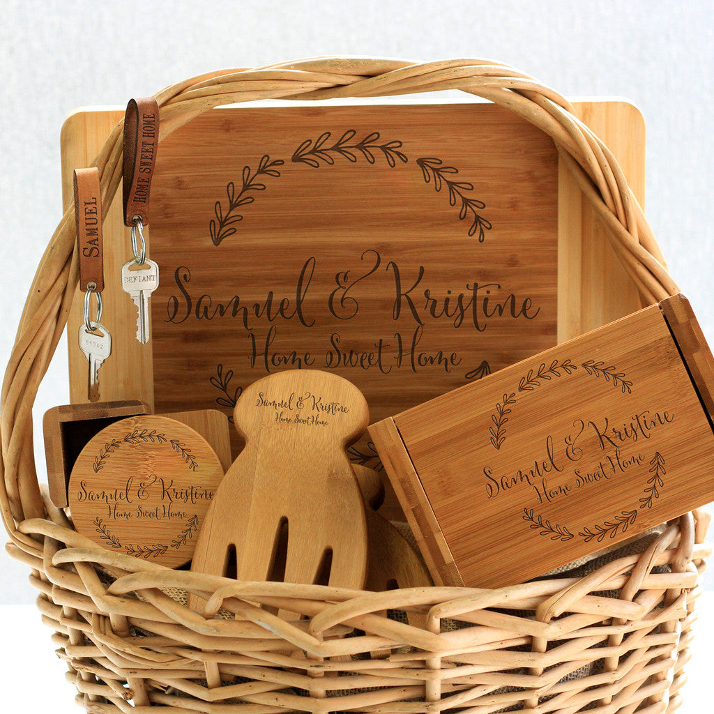 """Samuel & Kristine Floral"" Cutting Board, Key Chains, Coaster Set, Recipe Box & Salad Tongs"