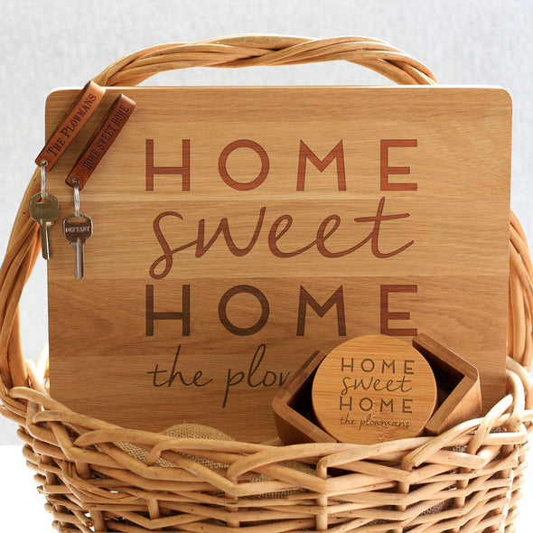 """Home Plowmans"" Cutting Board, Key Chains & Coaster Set"