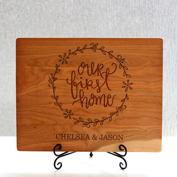 """Our First Home Chelsea Jason"" Cutting Board & Stand"