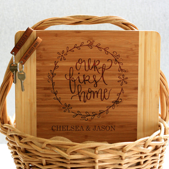 """Our First Home Chelsea Jason"" Cutting Board & Key Chains"