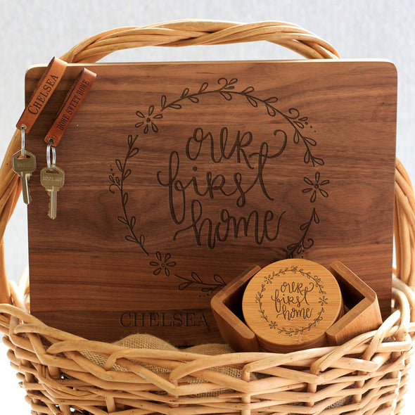 """Our First Home Chelsea Jason"" Cutting Board, Key Chains & Coaster Set"