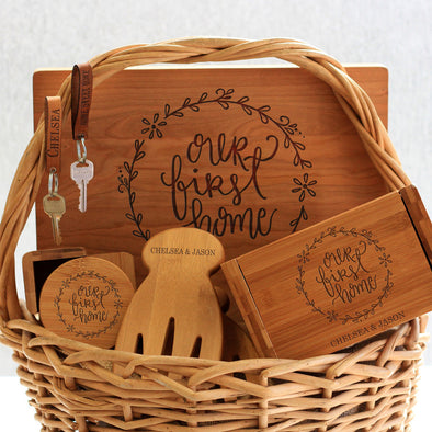 """Our First Home Chelsea Jason"" Cutting Board, Key Chains, Coaster Set, Recipe Box & Salad Tongs"