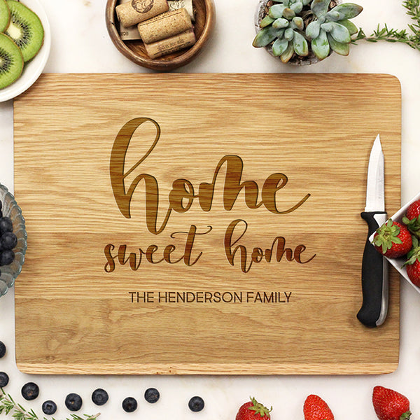 Personalized White Oak Home Sweet Home Cutting Board, , Custom Cutting Board