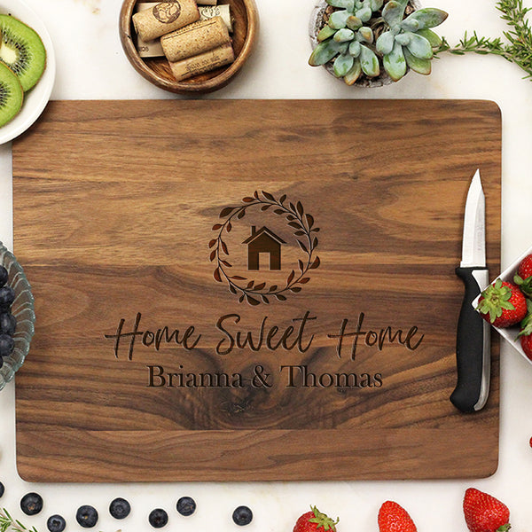 "Home Sweet Home Custom Cutting Board, Personalized Home Sweet Home Cutting Board, Custom Cutting Board, ""Home Sweet Home Brianna & Thomas"""