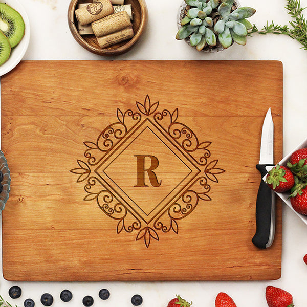 cherry cutting board, custom engraved cutting board, personalized cutting board